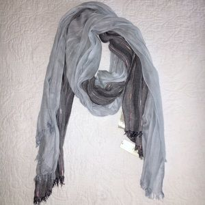 Baby blue and gray scarf.